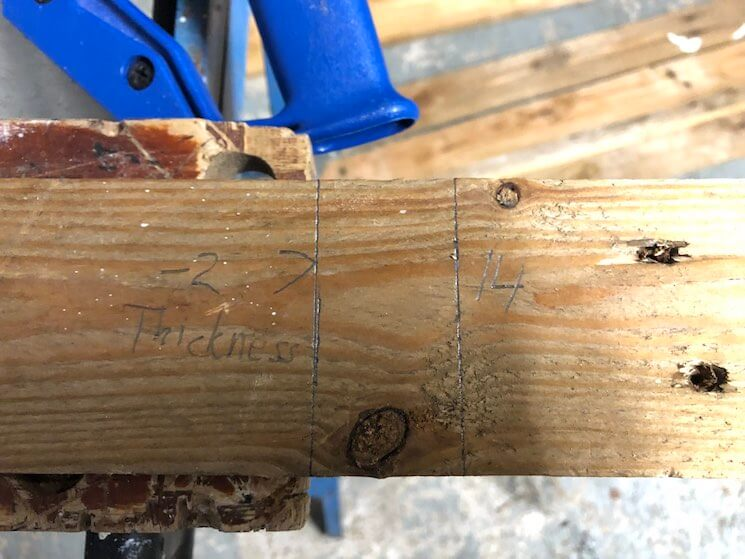 Mark cut lines for width pieces