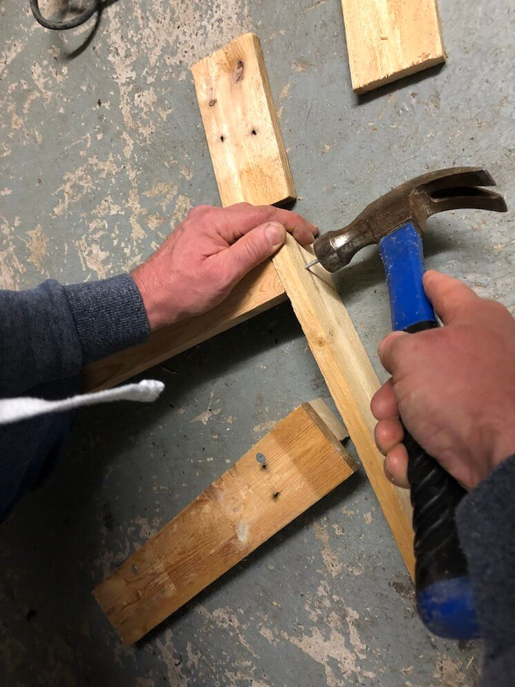 Nail the support boards into the width boards and  the length boards into the support beams